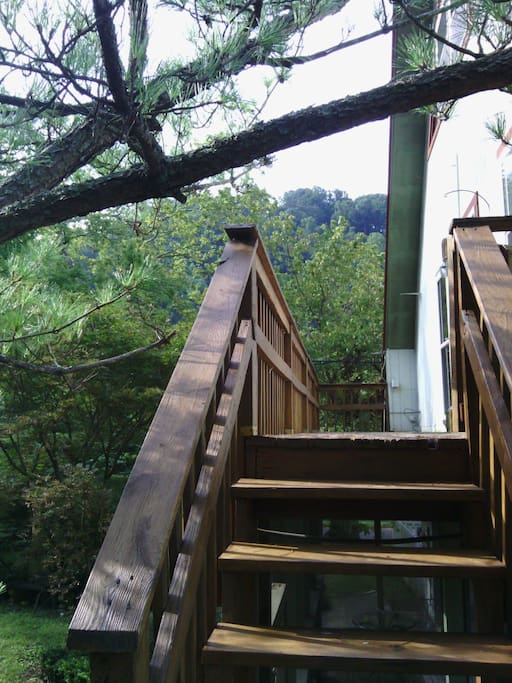 Sit out on the wooden balcony with birds and trees