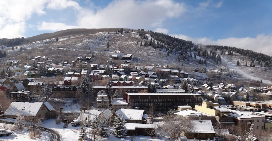 Panoramic mountain and old town Park City views.