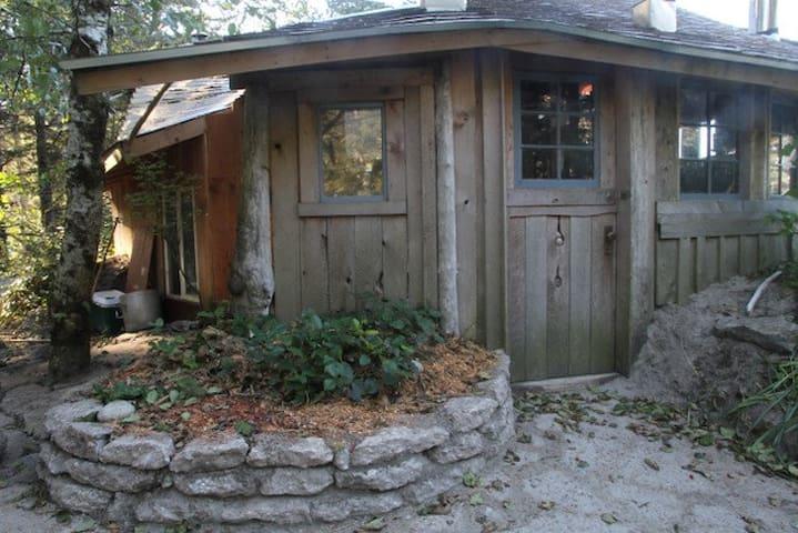 The front door of the cabin.