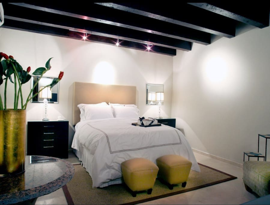 Beautiful private downstairs bedroom suite with private patio and office area