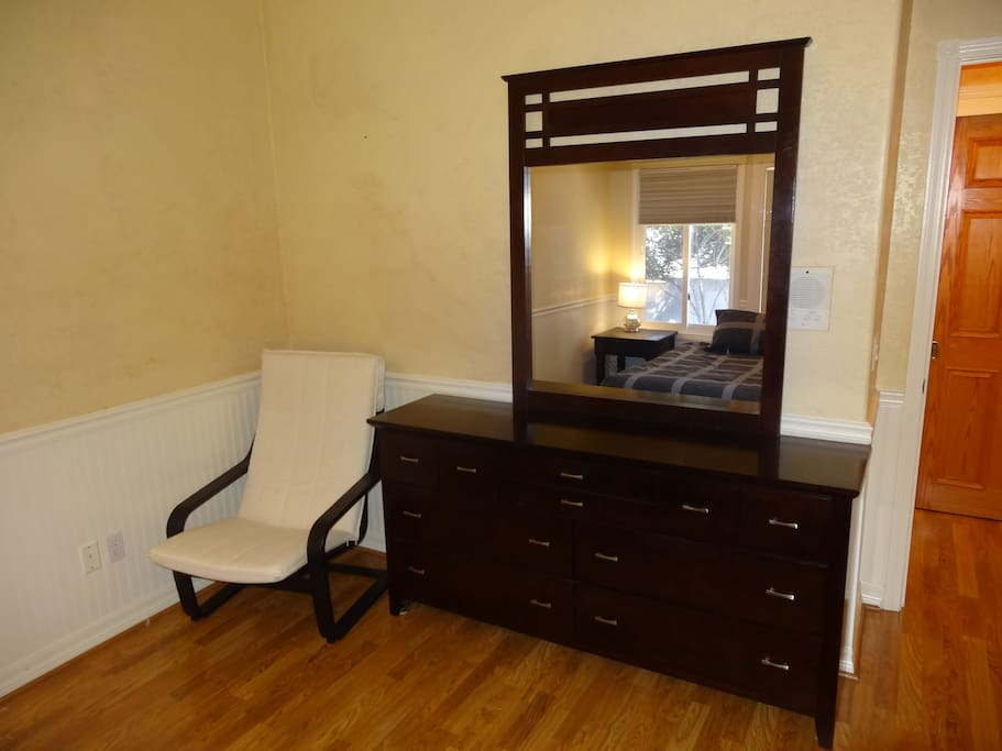 full dresser in master bedroom