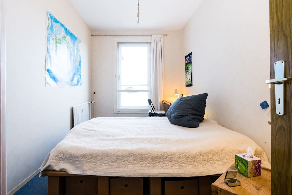 peaceful small bedroom with card board designer double bed :)