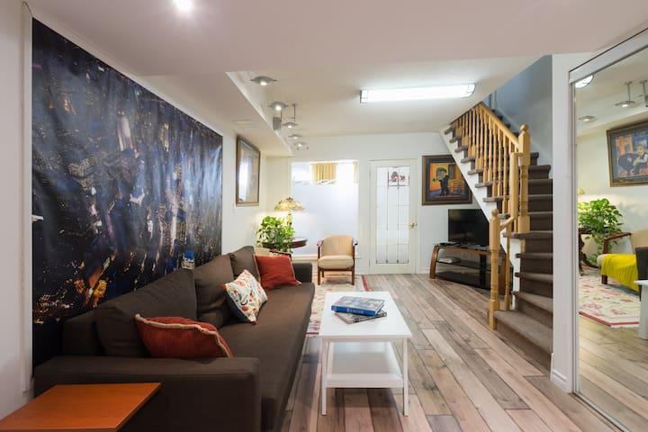 Newly renov 1-bdr furnished bsmnt, parkg, Toronto