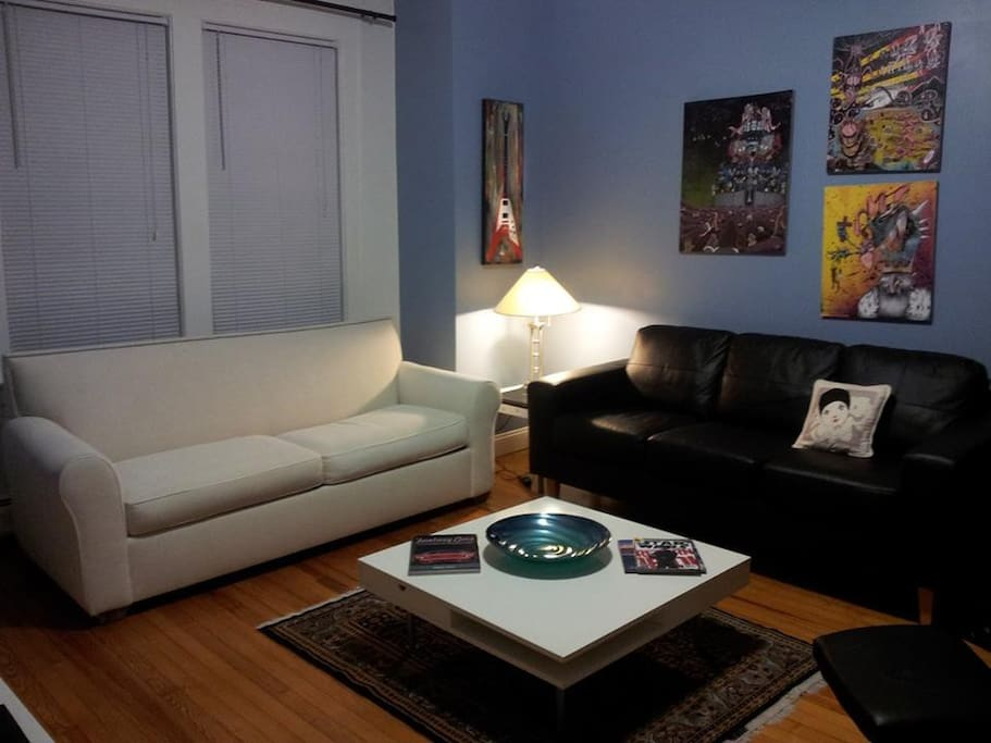 Modern and comfortable Living Room - White queen size sofa bed