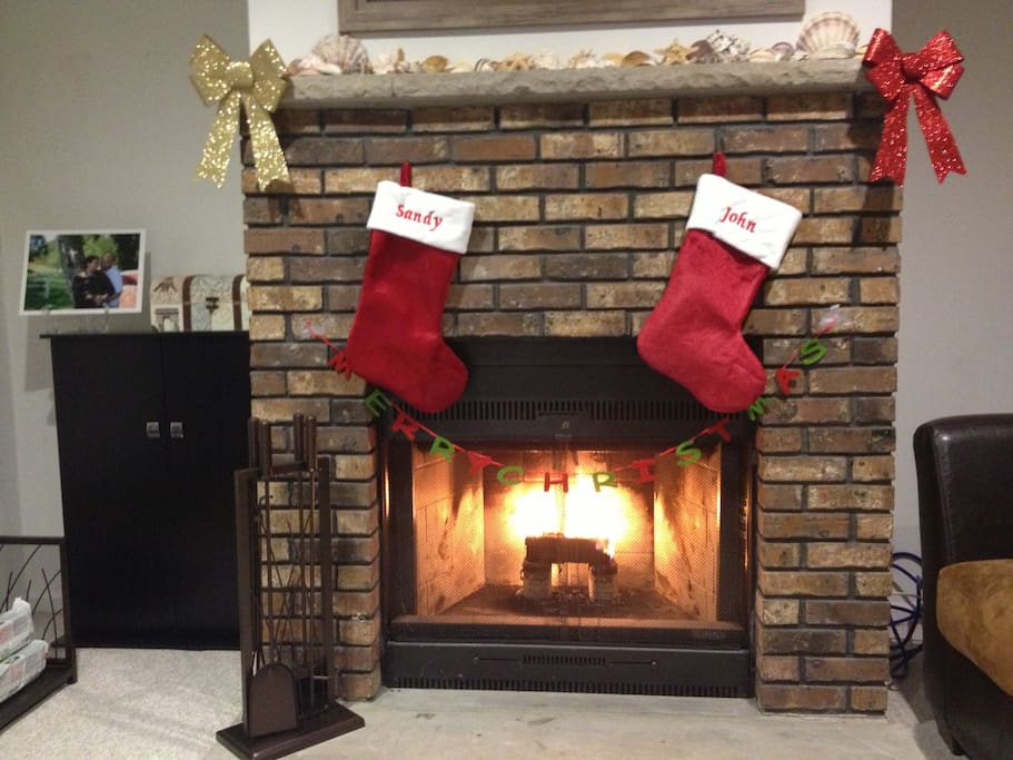 Brick fireplace for that cozy feeling!