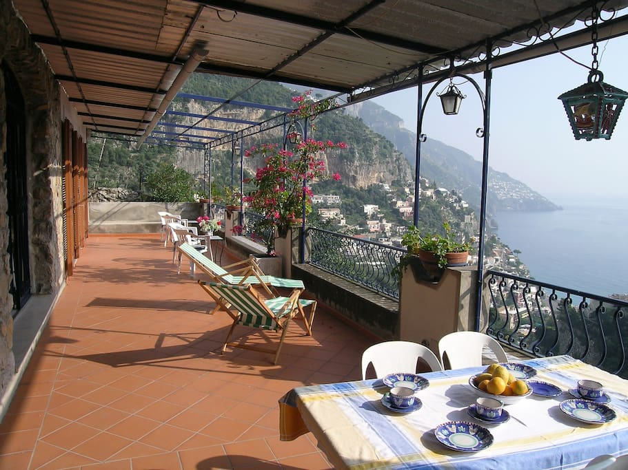 Terraces and garden are all furnished with tables and chairs.