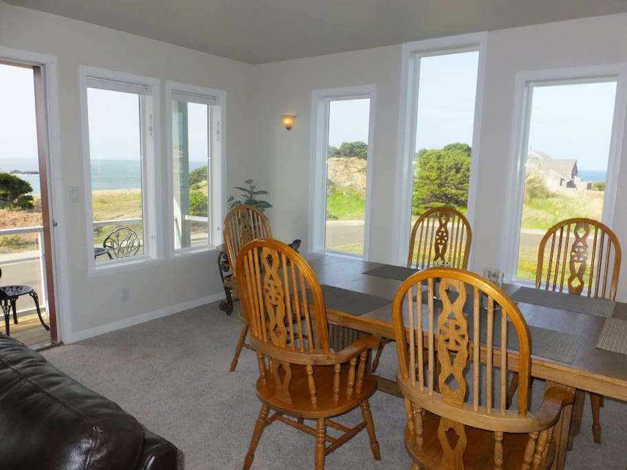 Dining room has views of the ocean to the west and the north
