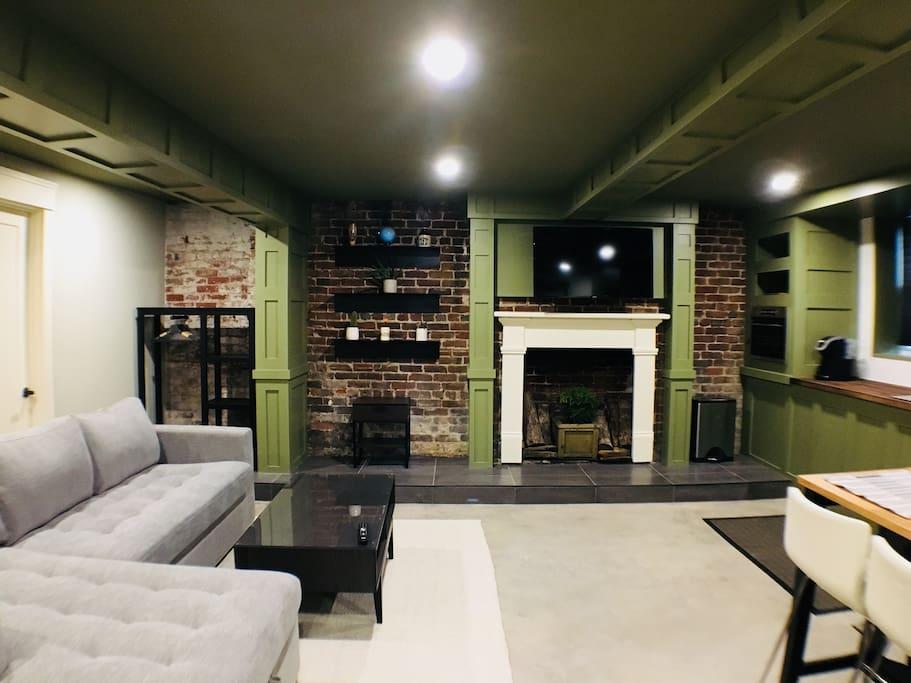 Cozy living space with in-floor heating.