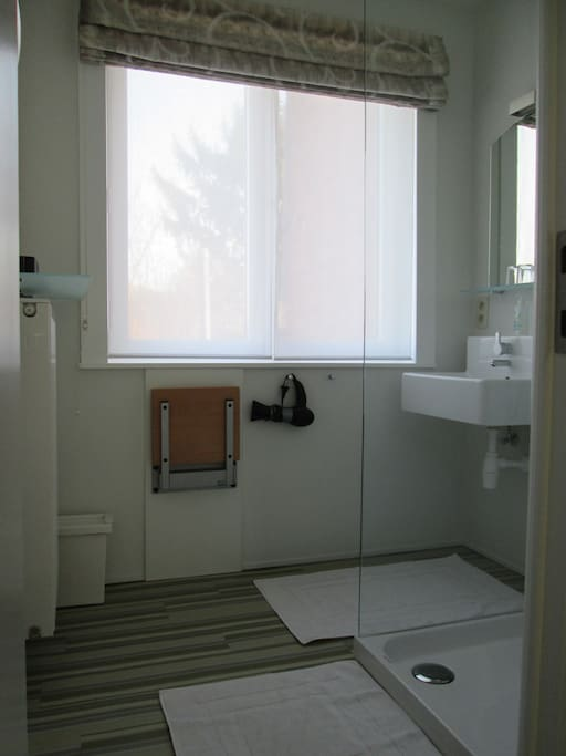 Bathroom with shower and wash basin. There is a separate toilet.