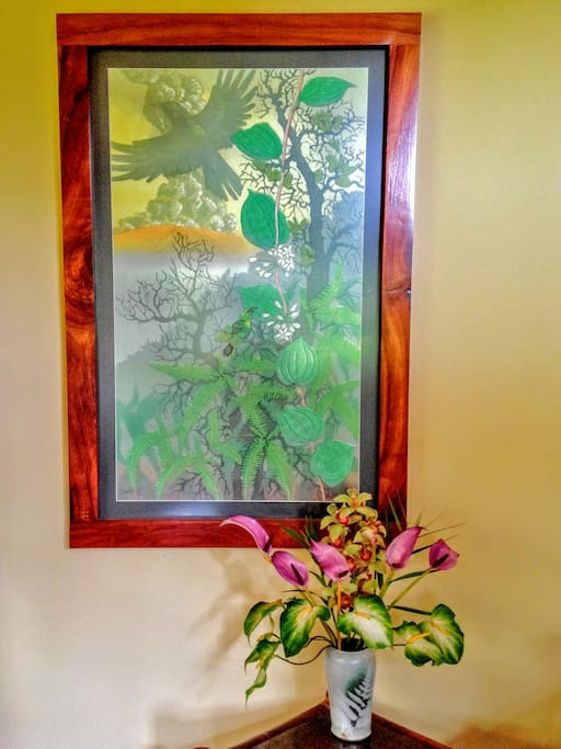 There is local art throughout the house.
