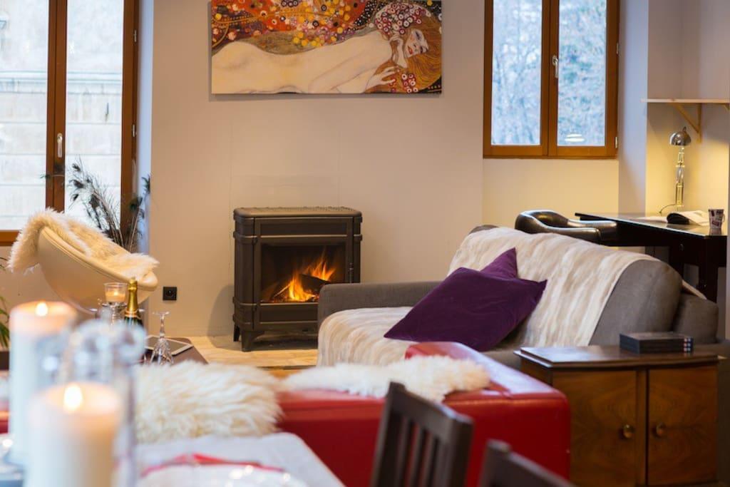 Cozy fireside living.