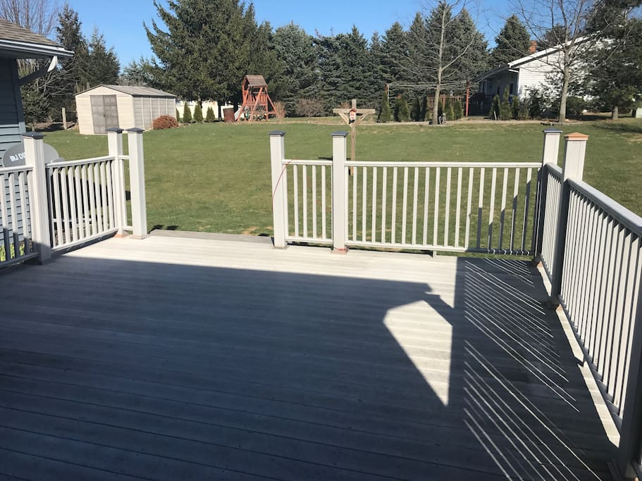 Back deck and yard
