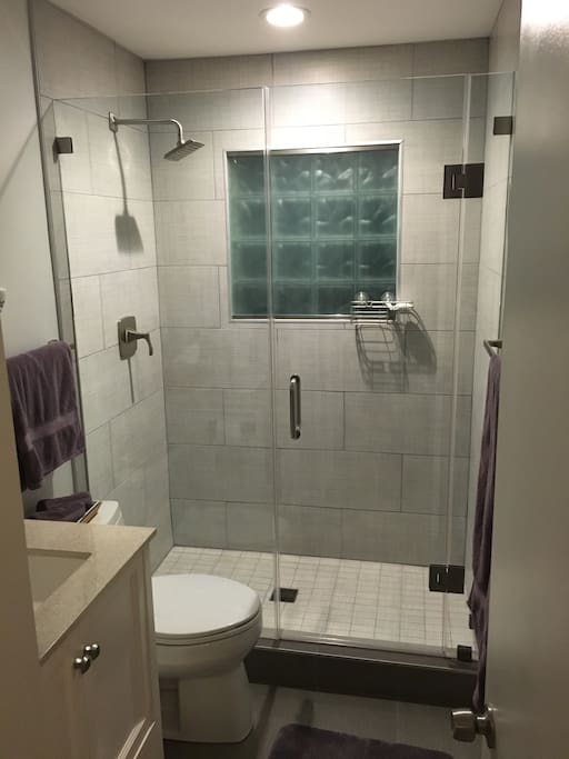 The newly remodeled bathroom includes a spacious tile shower with elegant glass door and your own personal section in the vanity mirror cabinet.