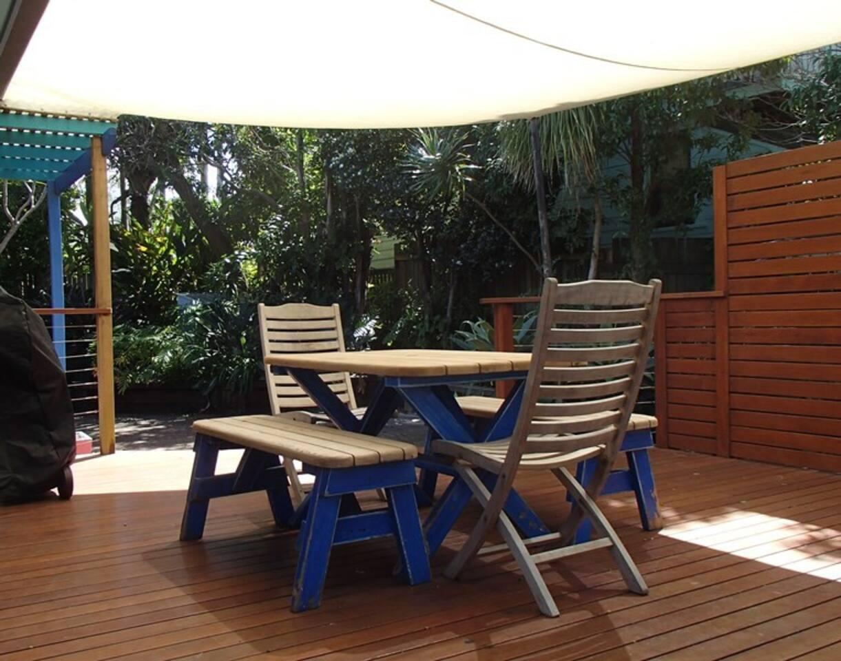 Spacious leafy private deck area
