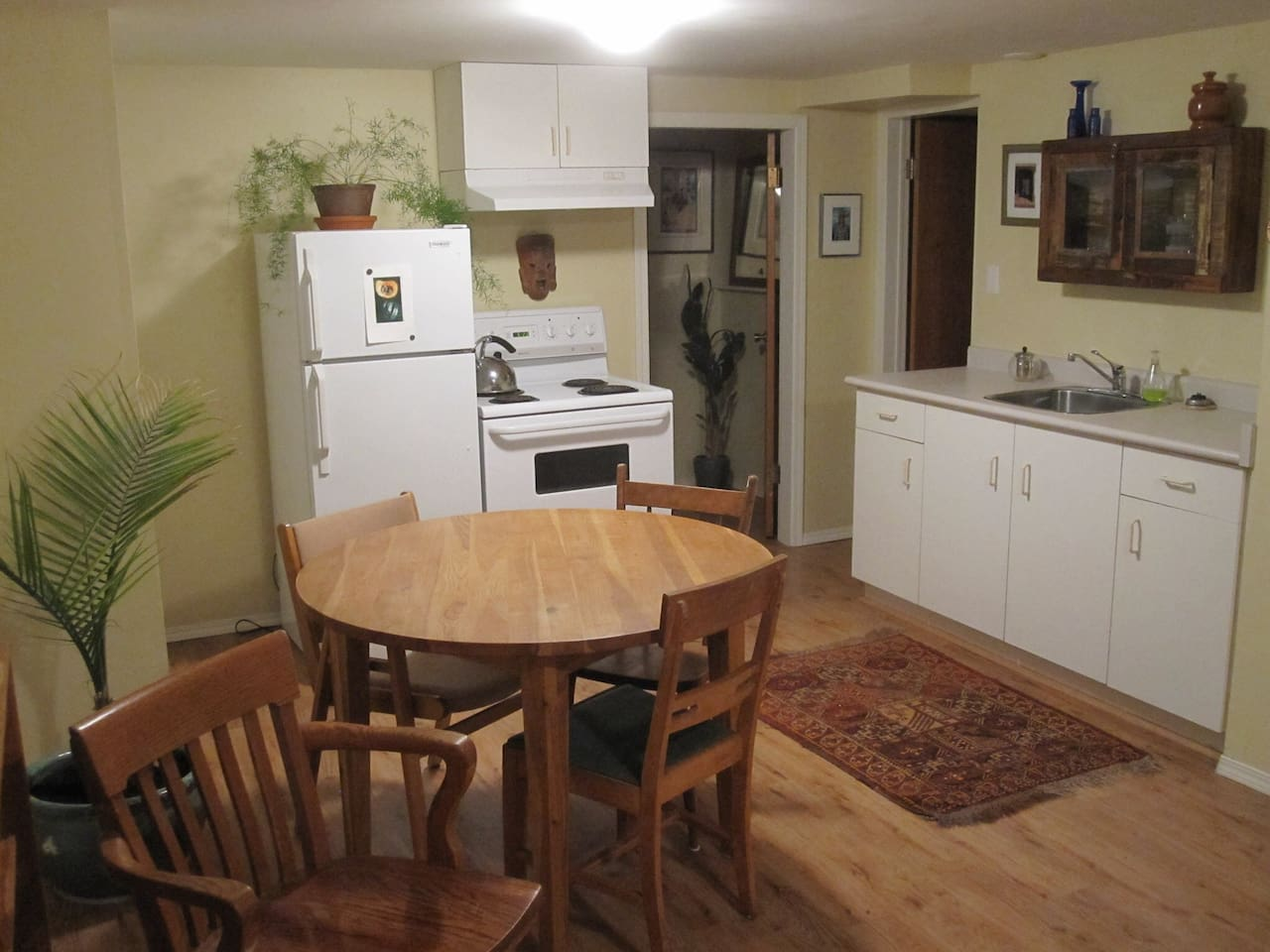 Fully equipped kitchen: toaster, coffee maker/french press, pots and pans.  Cook instead of going out!