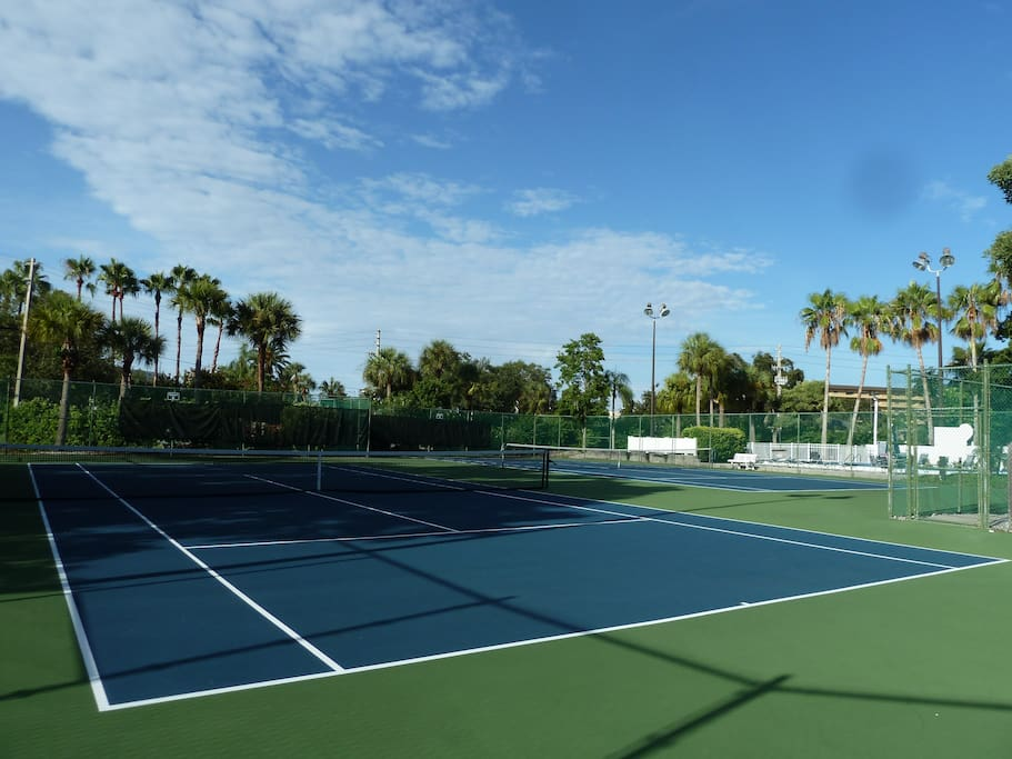Lighted tennis courts. Again just across the unit.
