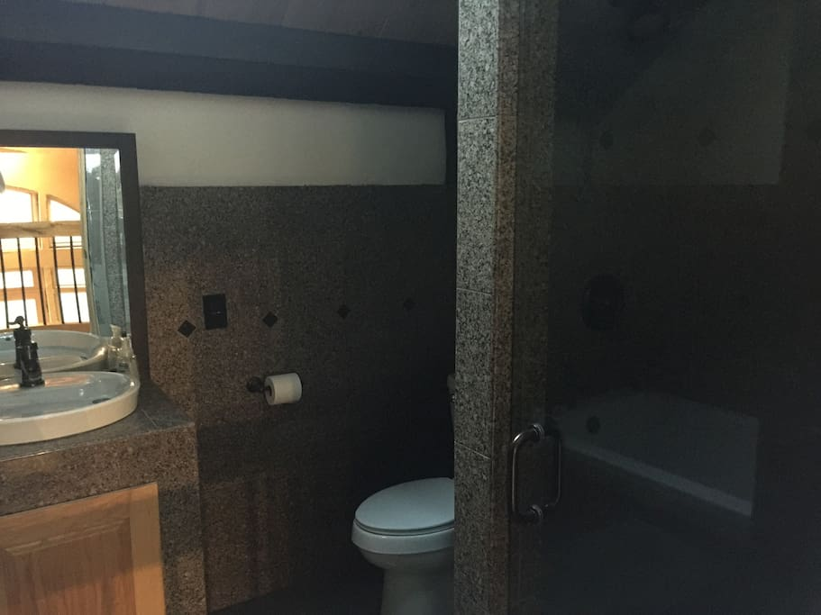 1 of 2 spa-like bathrooms featuring granite finishes and 2 showerheads