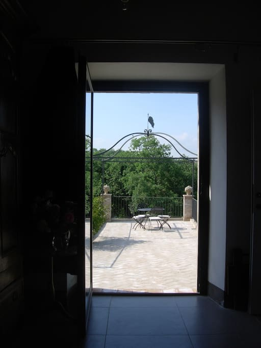 the terrace seen from the bedroom