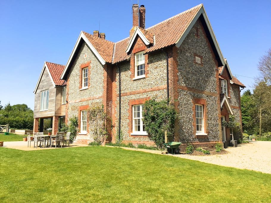brick and flint farmhouse, set in a big garden and beautiful unspoilt countryside