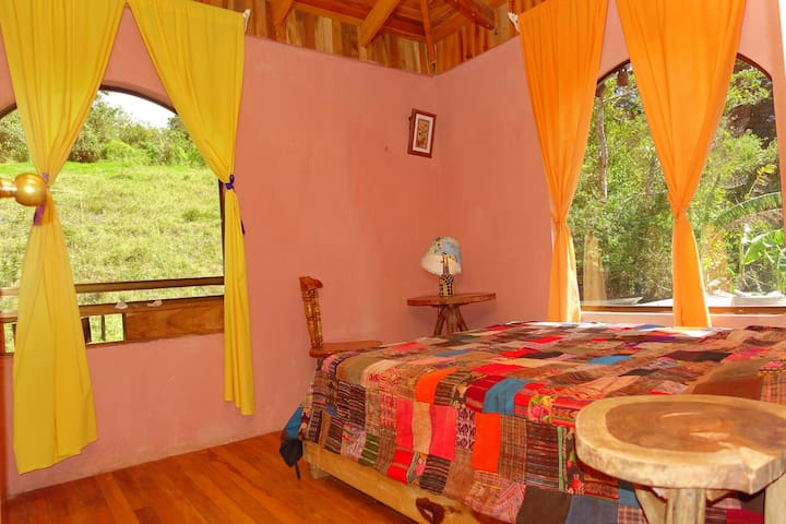 Double occupancy room with private bathroom and great views of the green hills.