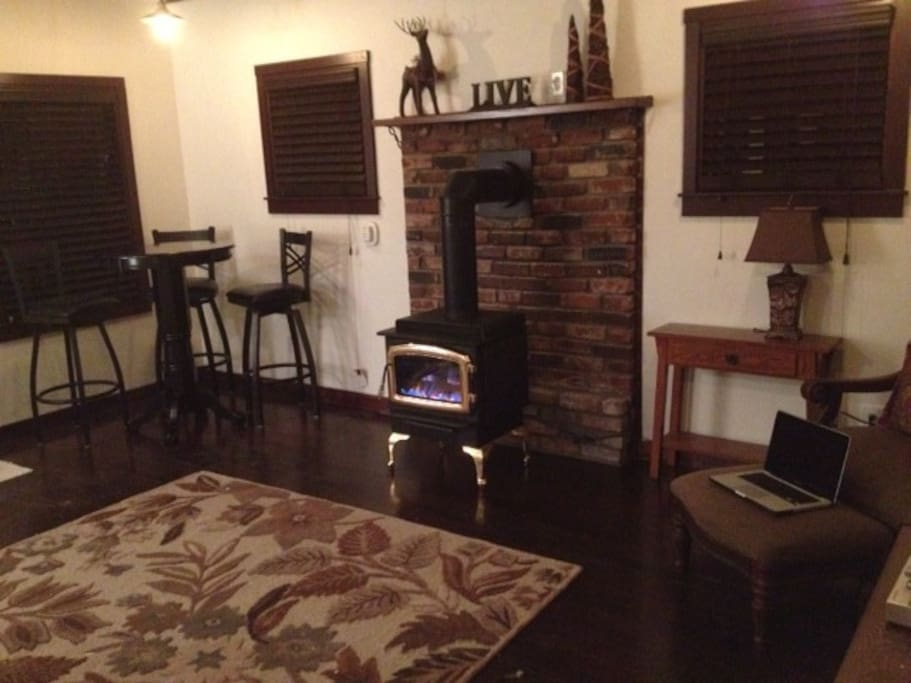 Gorgeous living room with gas fireplace, HD TV and plenty of seating.