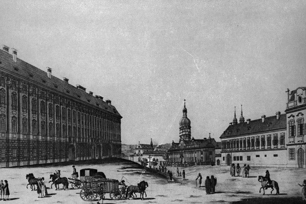 Our house in old picture of Loretanske namesti from 18th century