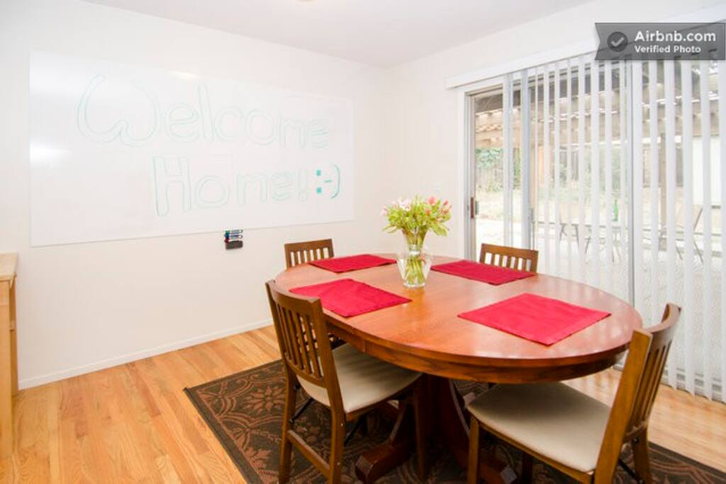 Dinning room/work room. 4x6 foot whiteboard available for work or fun