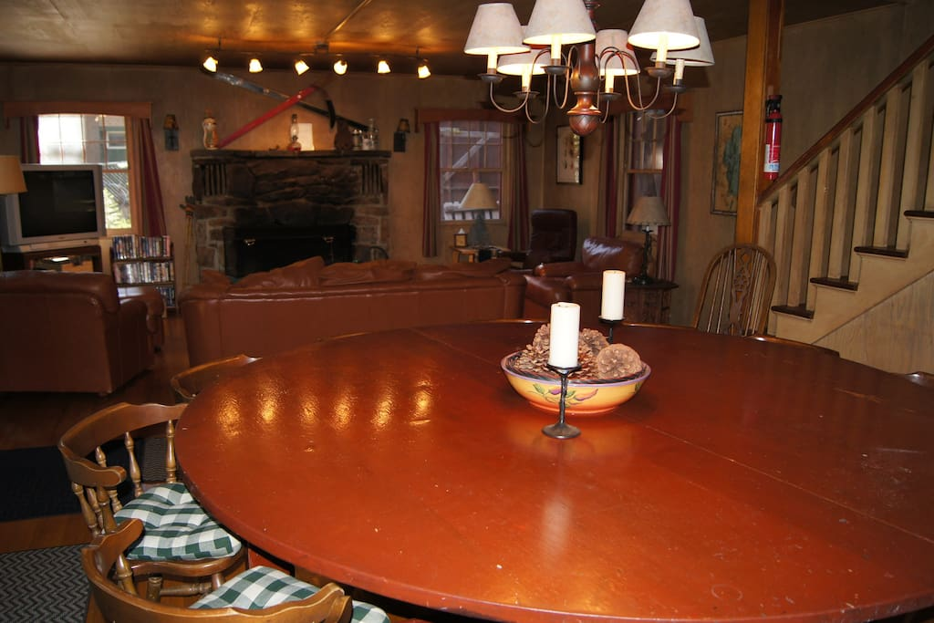 In 1963, my parents bought this particular cabin because of this huge round table.  Originally, it seated 17, but with the wider chairs we are using now, it seats 12.