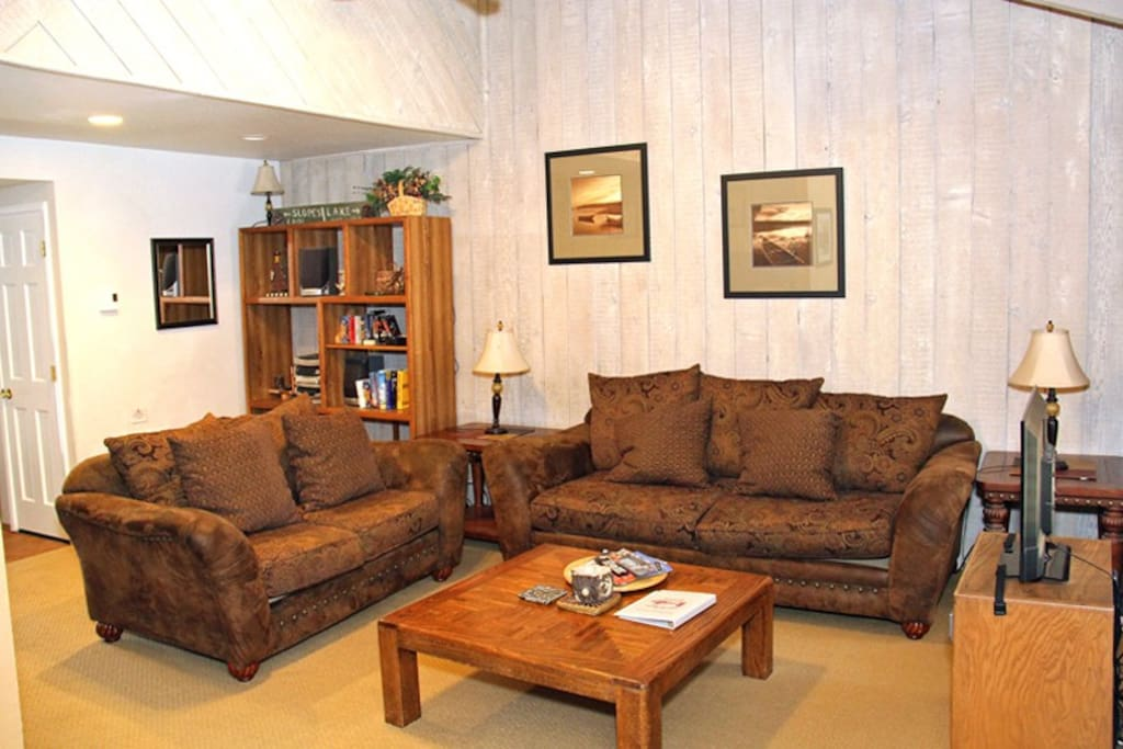 Mammoth Lakes Vacation Rental Sunshine Village 106 - Comfy sofas in the Living Room - Not a sofa bed