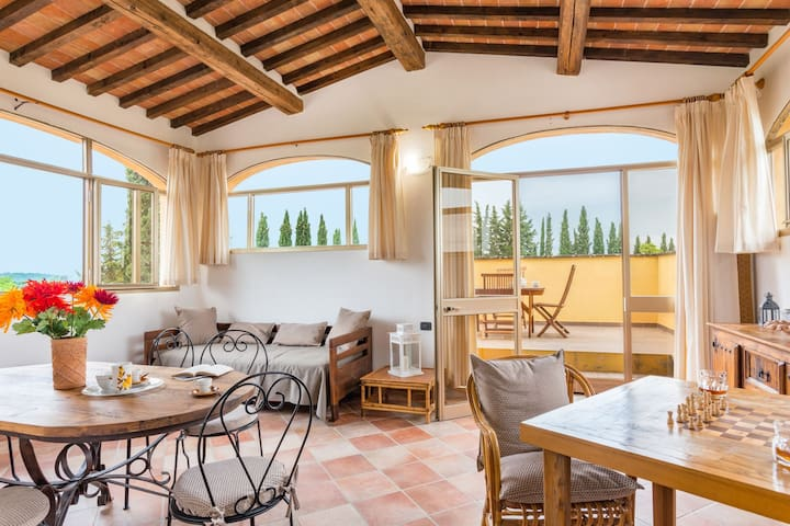 Chianti-17 km from San Gimignano: apts with pool.