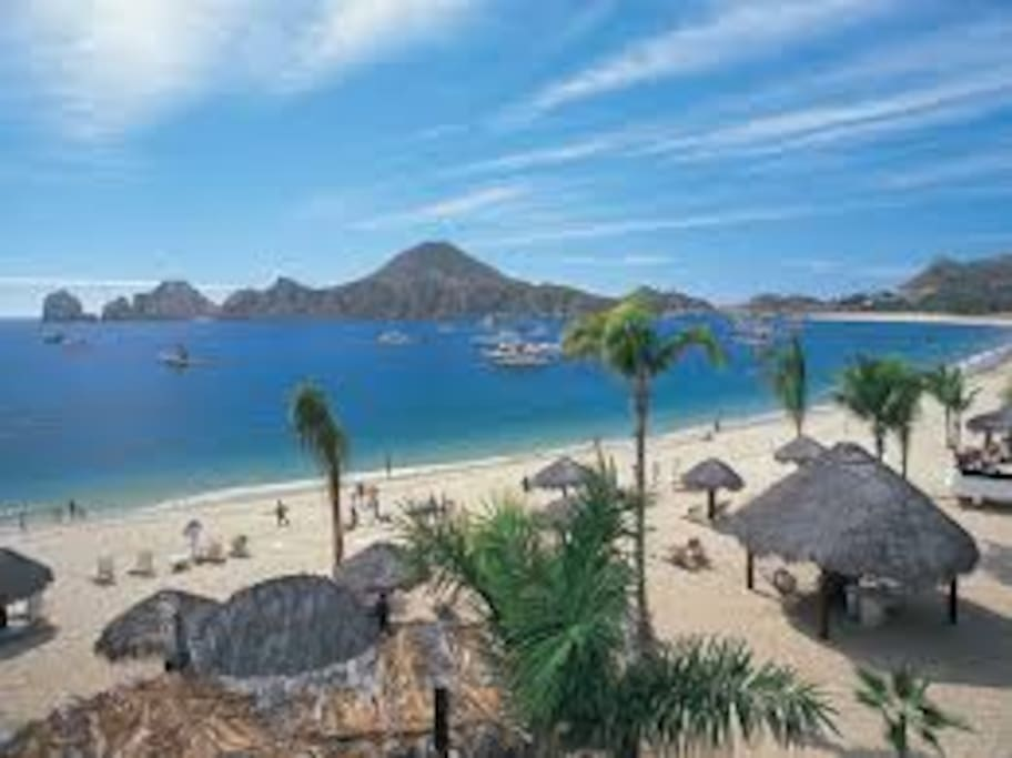The beach is fabulous, white sand, and it's the only safe beach for swimming anywhere near Cabo!