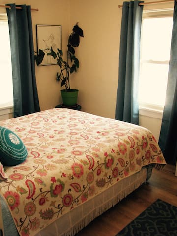 Blue bedroom queen size bed