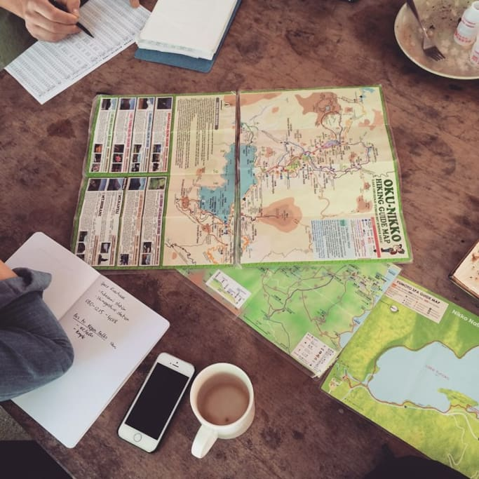 hiking trail planning with guests