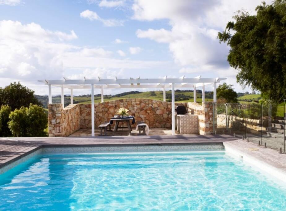 Sparkling 10 metre swimming pool