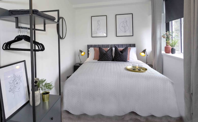 The luxurious bed can be made up as one double bed or two singles