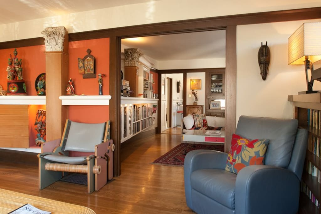 Beautiful architectural details in view from living room to media room.