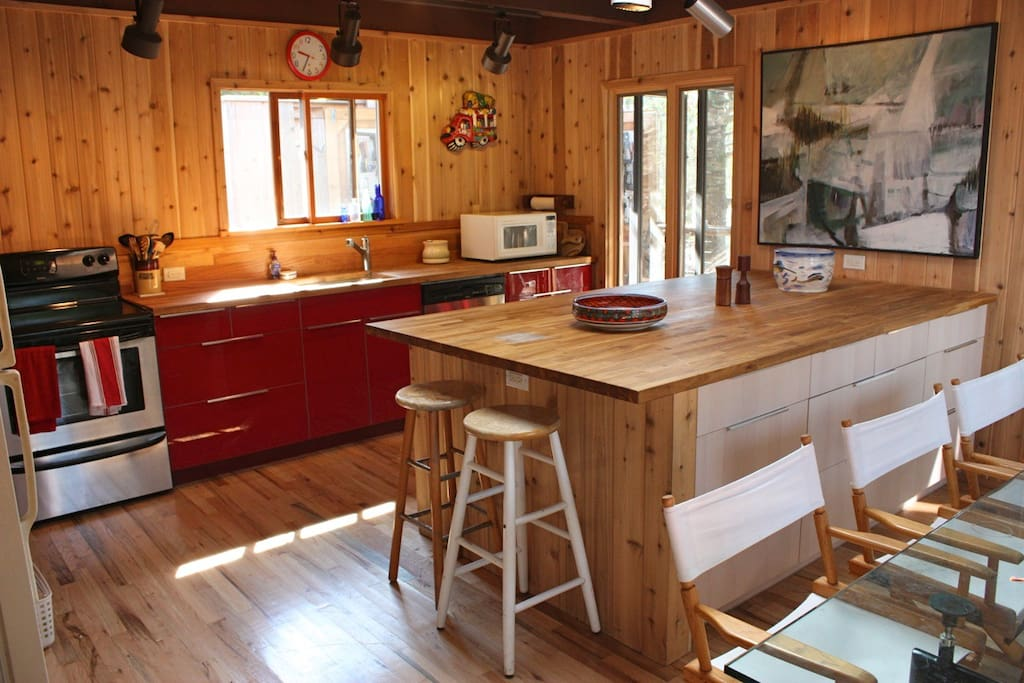 Recently renovated kitchen, with modern appliances, lots of room for dinner guests.