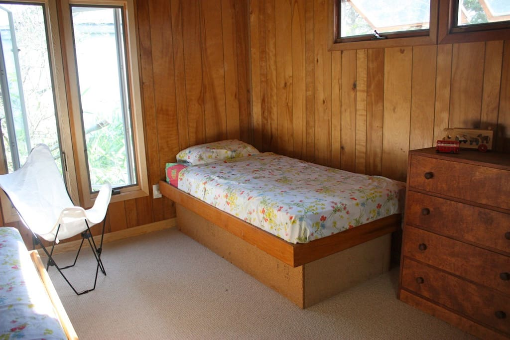 This is one of the two smaller bedrooms. This one has two twin beds, the other has a queen sized bed, and the master bedroom has a king sized bed.