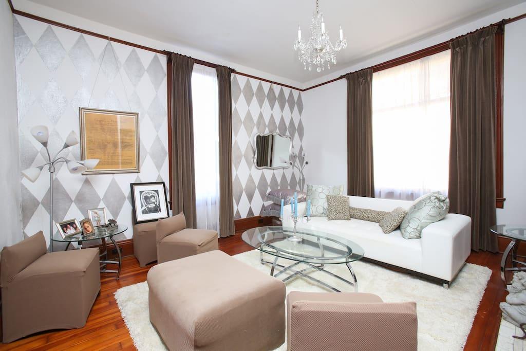 Silver living room, plenty of seating