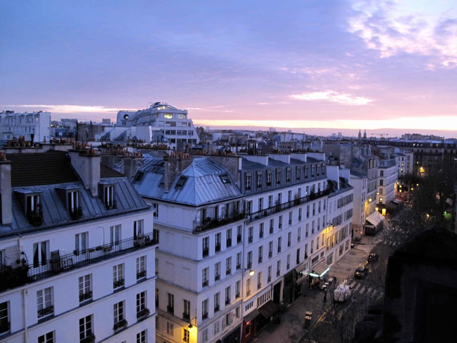 view from the rooms on the area and the little parisian cafés and restaurants...
