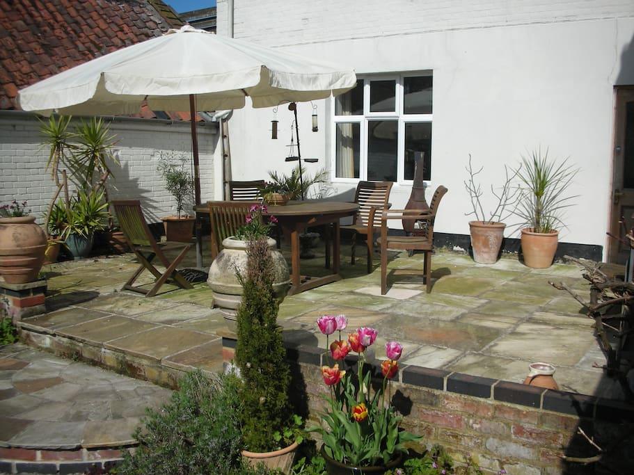 Sunny terrace for alfresco breakfasts