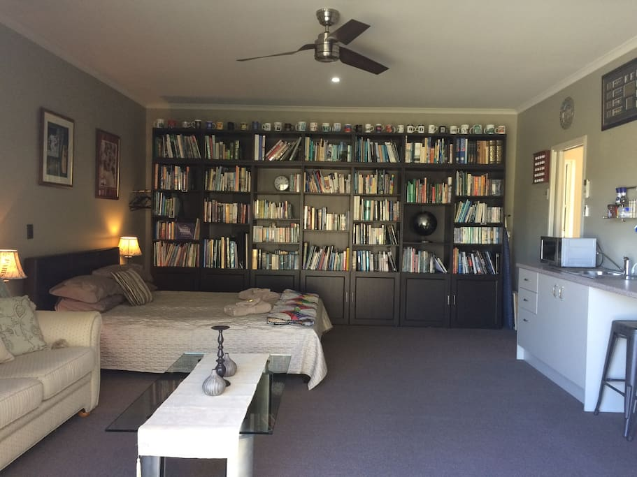 Guest space with extensive library