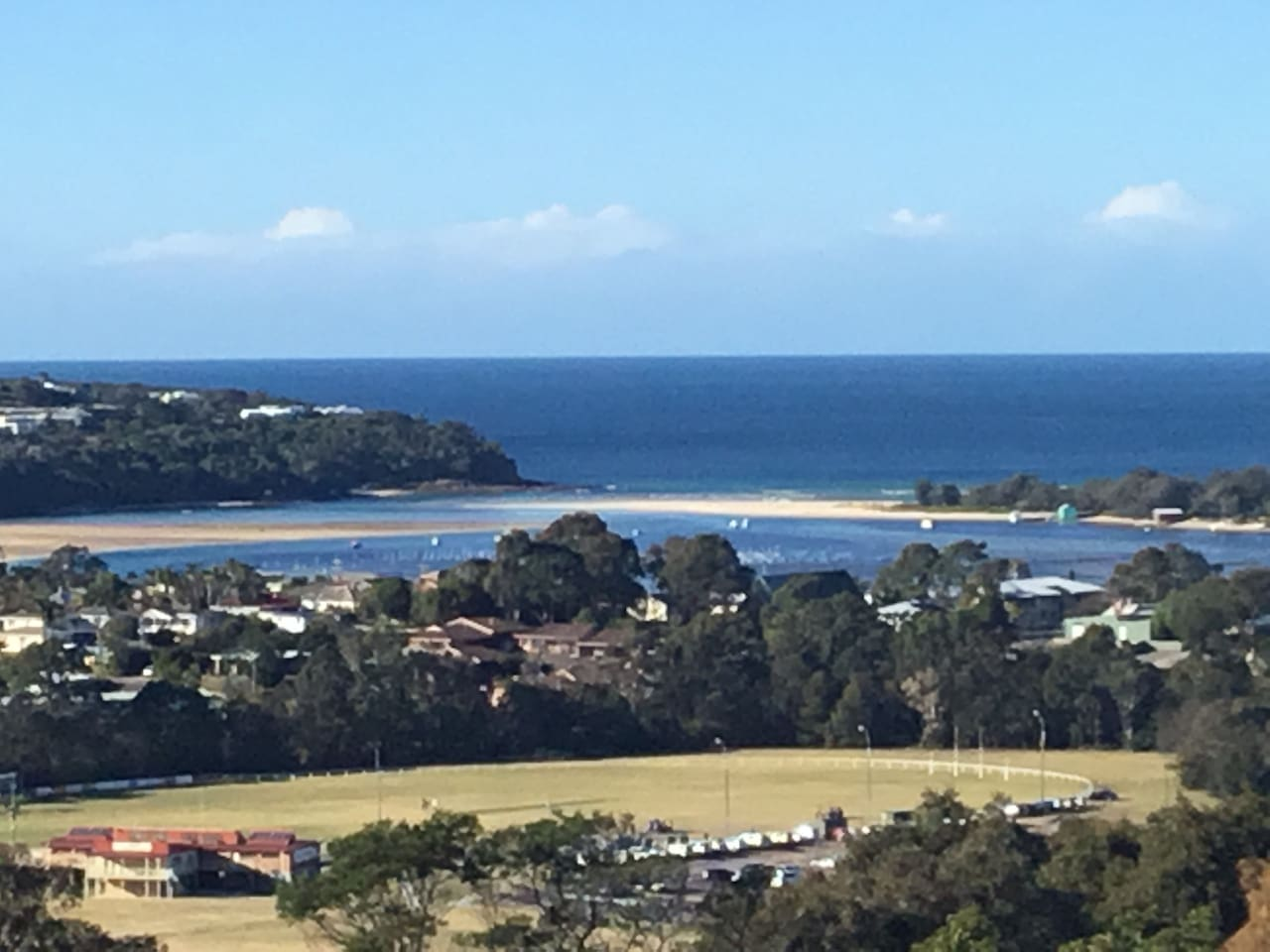 Deck view to Merimbula Bar- Surf or whales today?