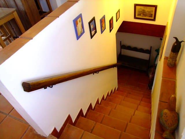 Escada interna de acesso a casa