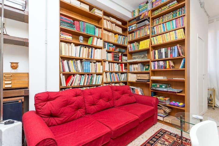 sofa with bookshelf