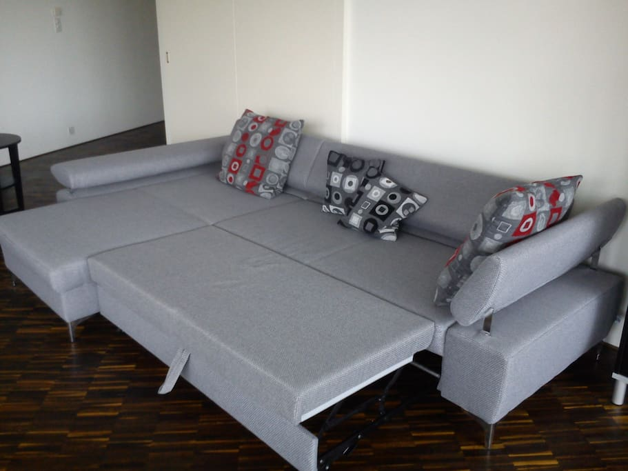 Couch with bed portion pulled out