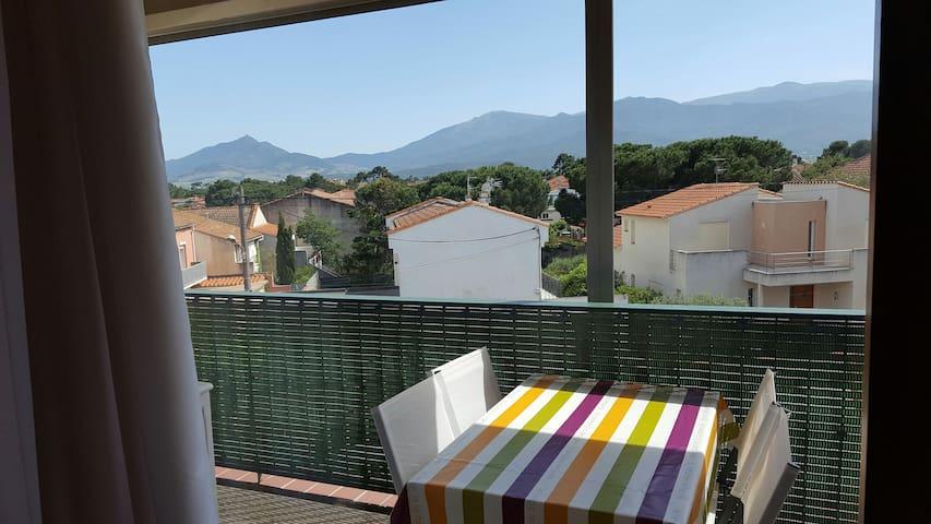 Argeles s/mer, appartement Plage:200m vue Albères