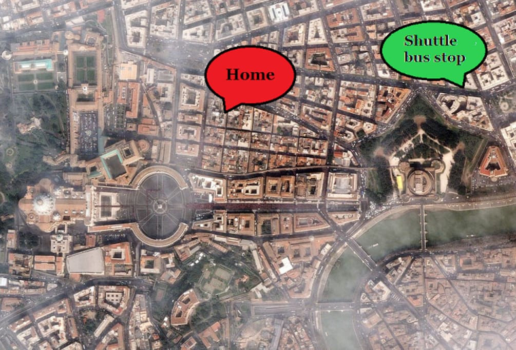 Location of Antico Borgo Home and of the shuttle stop to\from Fiumicino.