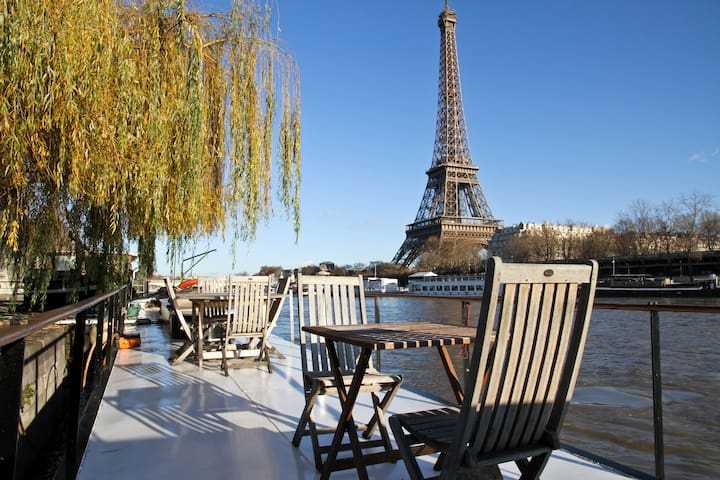 Charming Eiffel Tower Houseboat