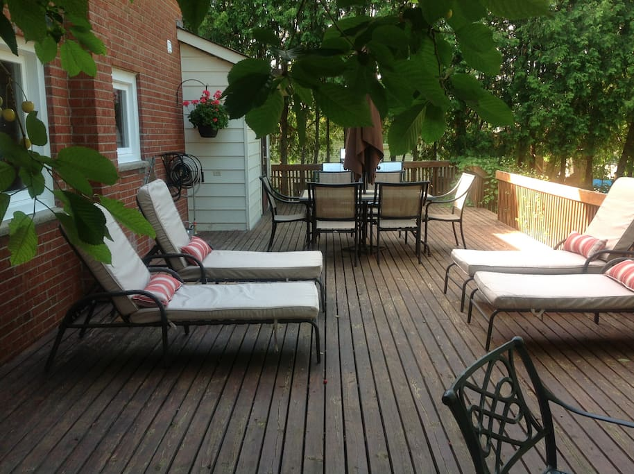 Large 16ft x 42ft deck in backyard with outdoor lounge and dining furniture
